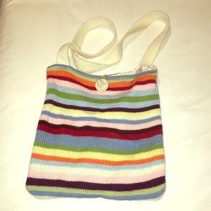 Multi stripe knit cross body bag
